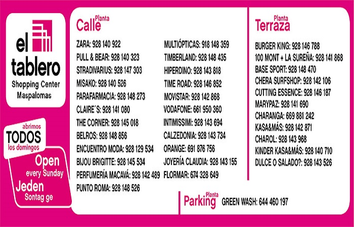 Contact Infprmation El Tablero Shopping Center